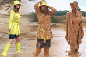Raincoat & Rubber Boots in Mud
